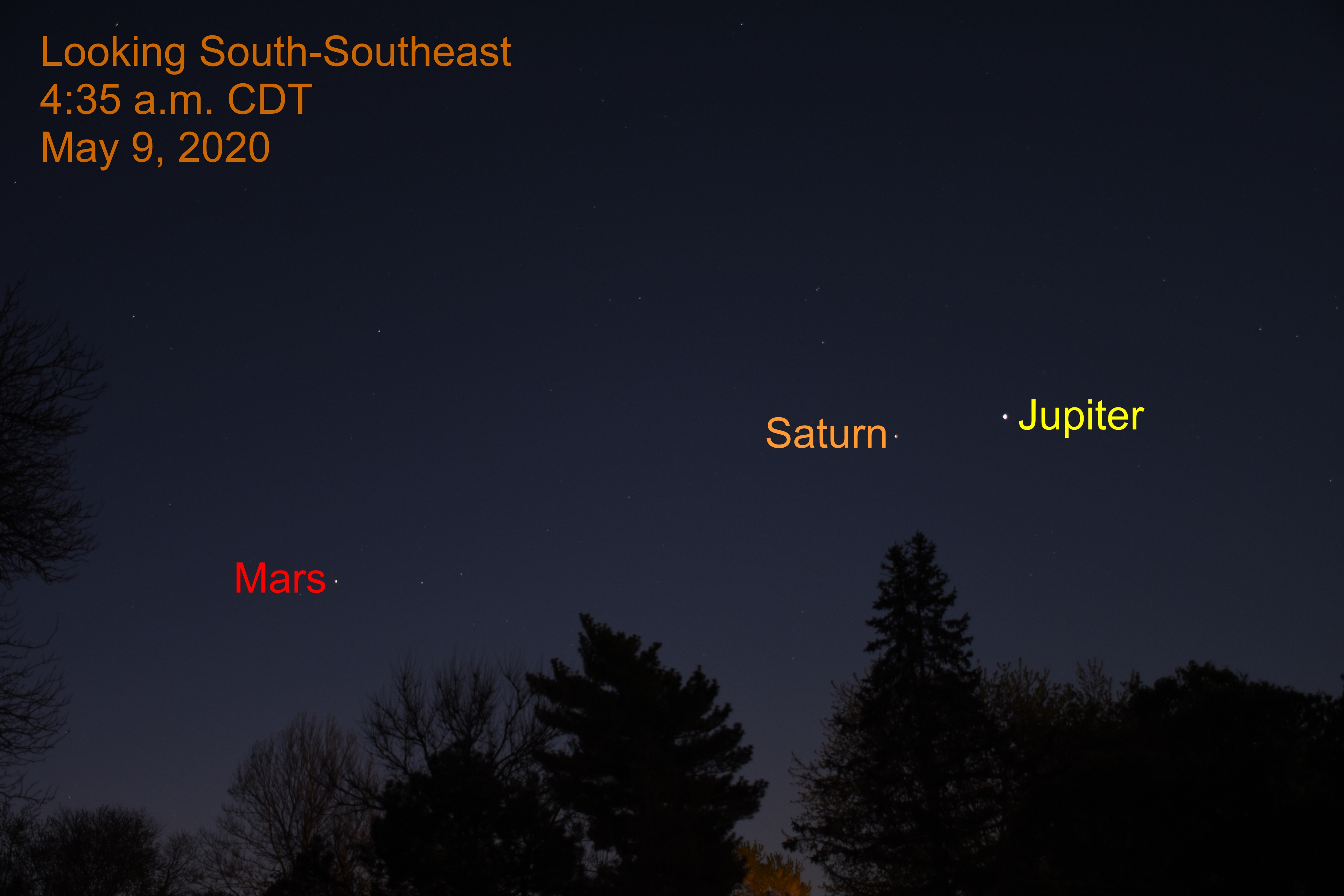 Jupiter, Saturn, and Mars, May 9, 2020