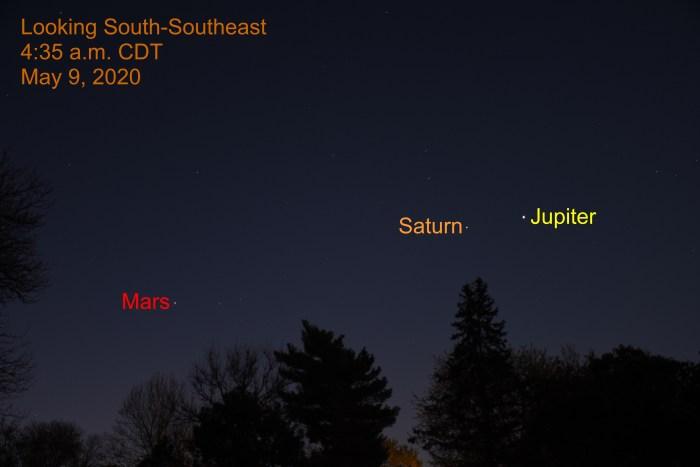 Jupiter, Saturn, and Mars, May 9, 2020