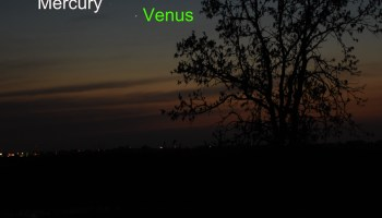 Venus, Mercury, and the star Elnath in the evening sky, May 22, 2020