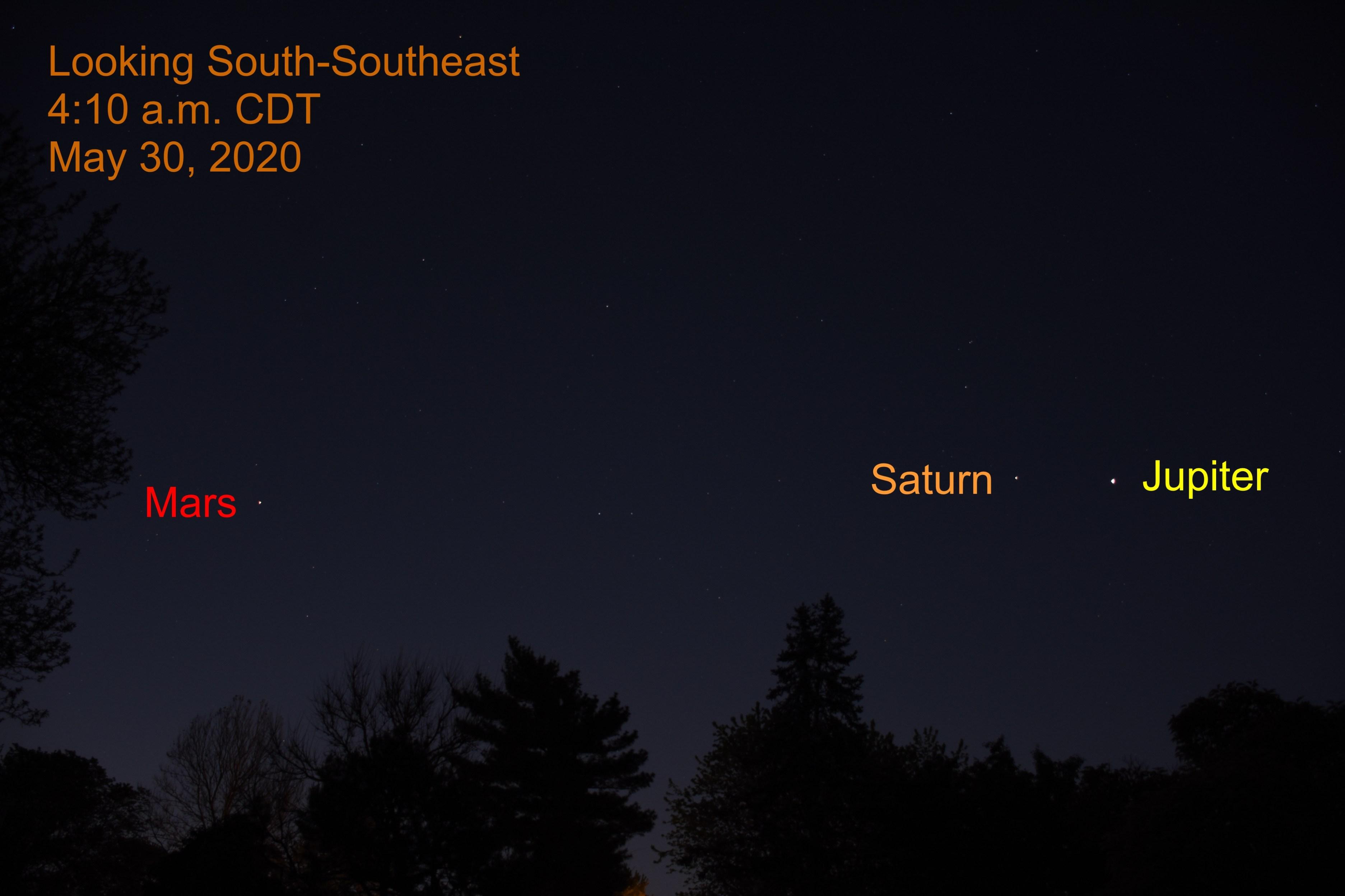 Jupiter, Saturn, and Mars, May 30, 2020