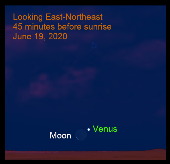 Venus and the moon, June 19, 2020