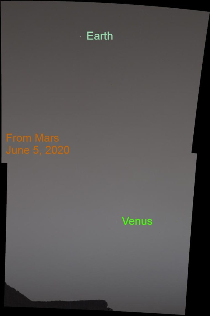 Earth and Venus from Mars