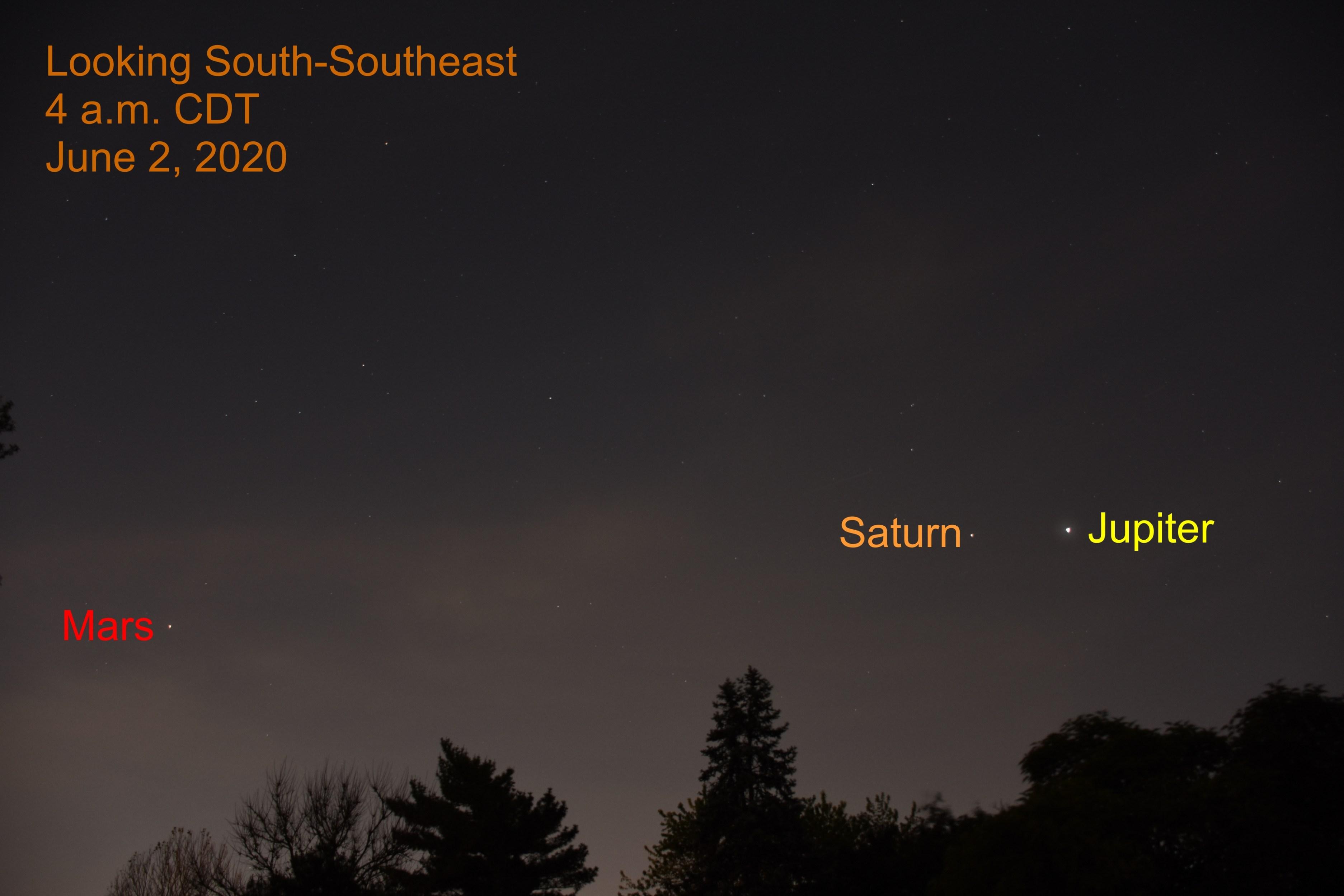 Jupiter, Saturn, and Mars , June 2, 2020