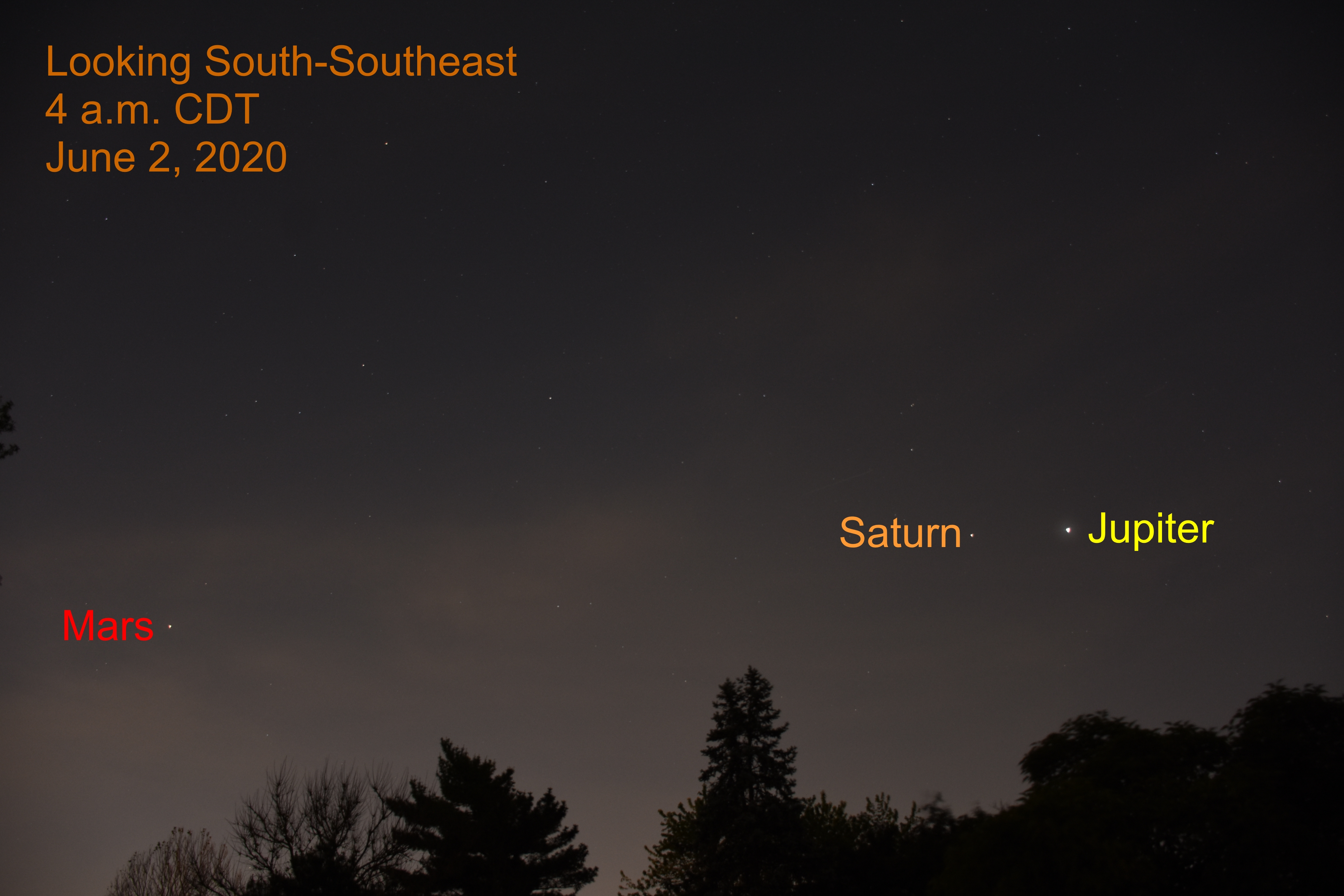 Jupiter, Saturn, and Mars , June 2, 2020