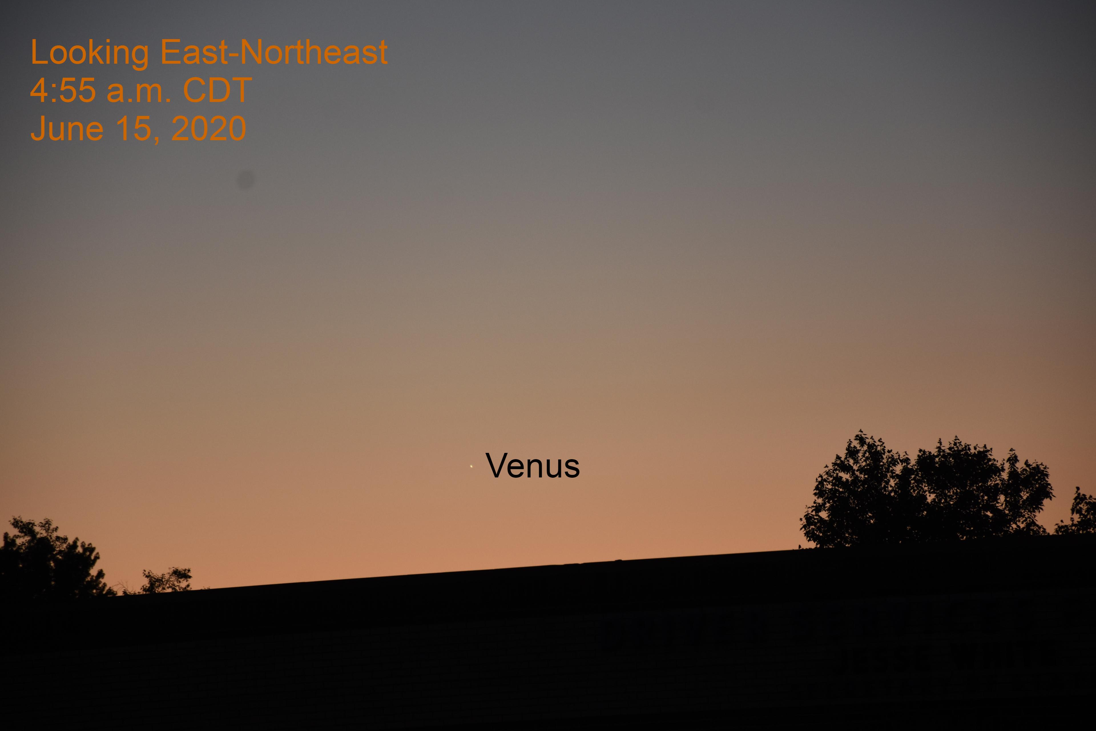 Venus low in the east-northeast, June 15, 2020