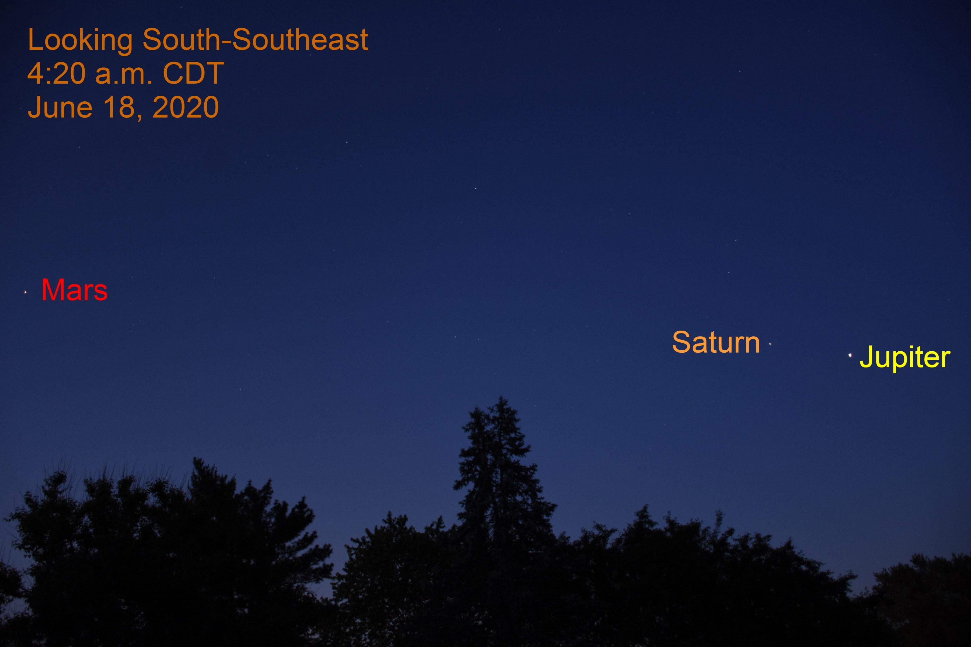 Mars, Saturn, and Jupiter, June 18, 2020
