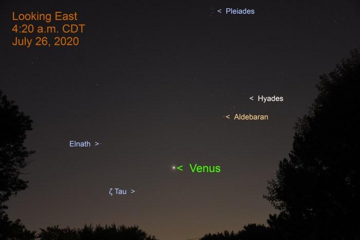 Venus in east, July 26, 2020.