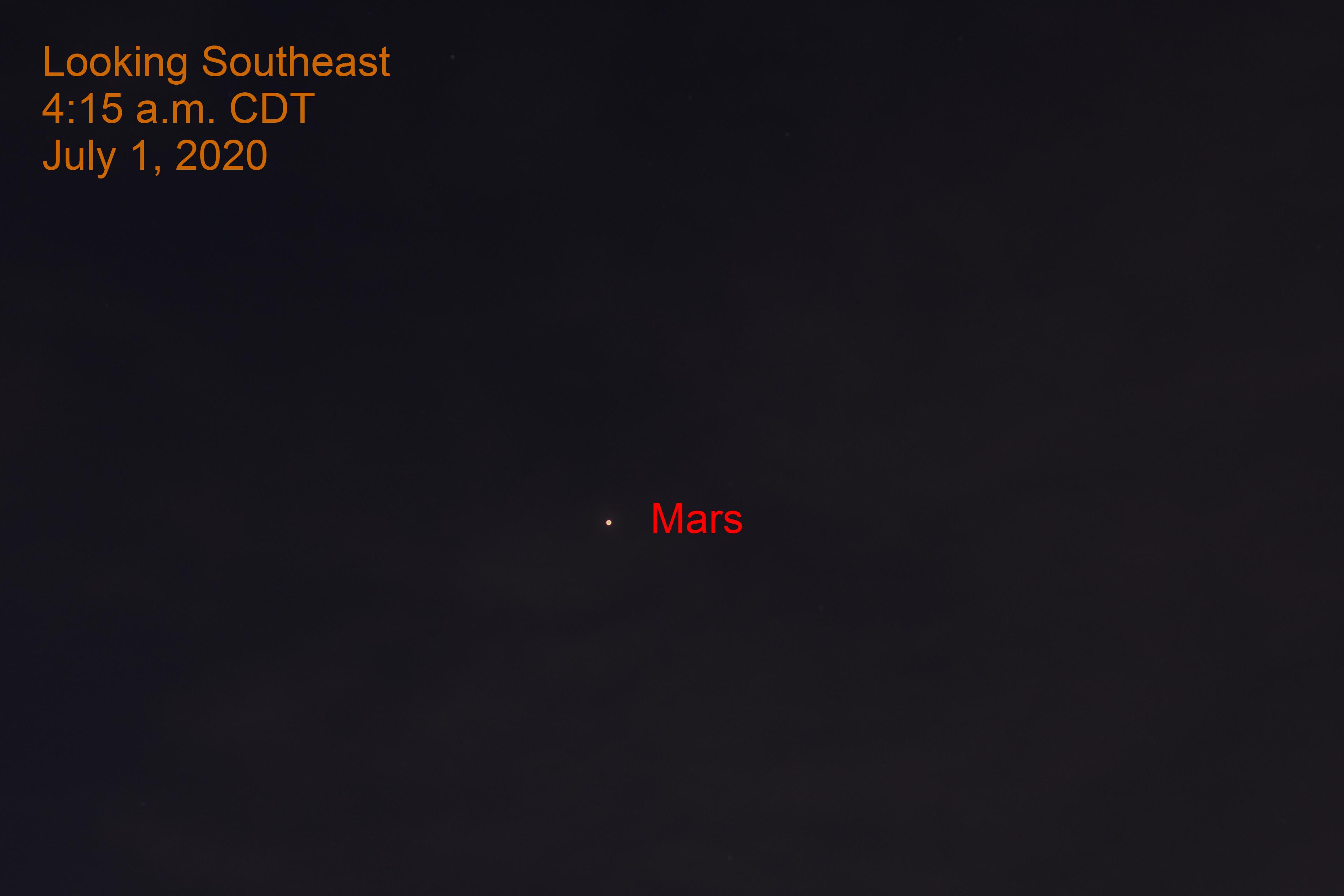 Mars in southeast, July 1, 2020