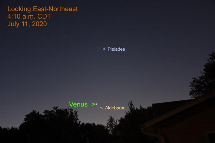 Venus and Aldebaran, July 11, 2020