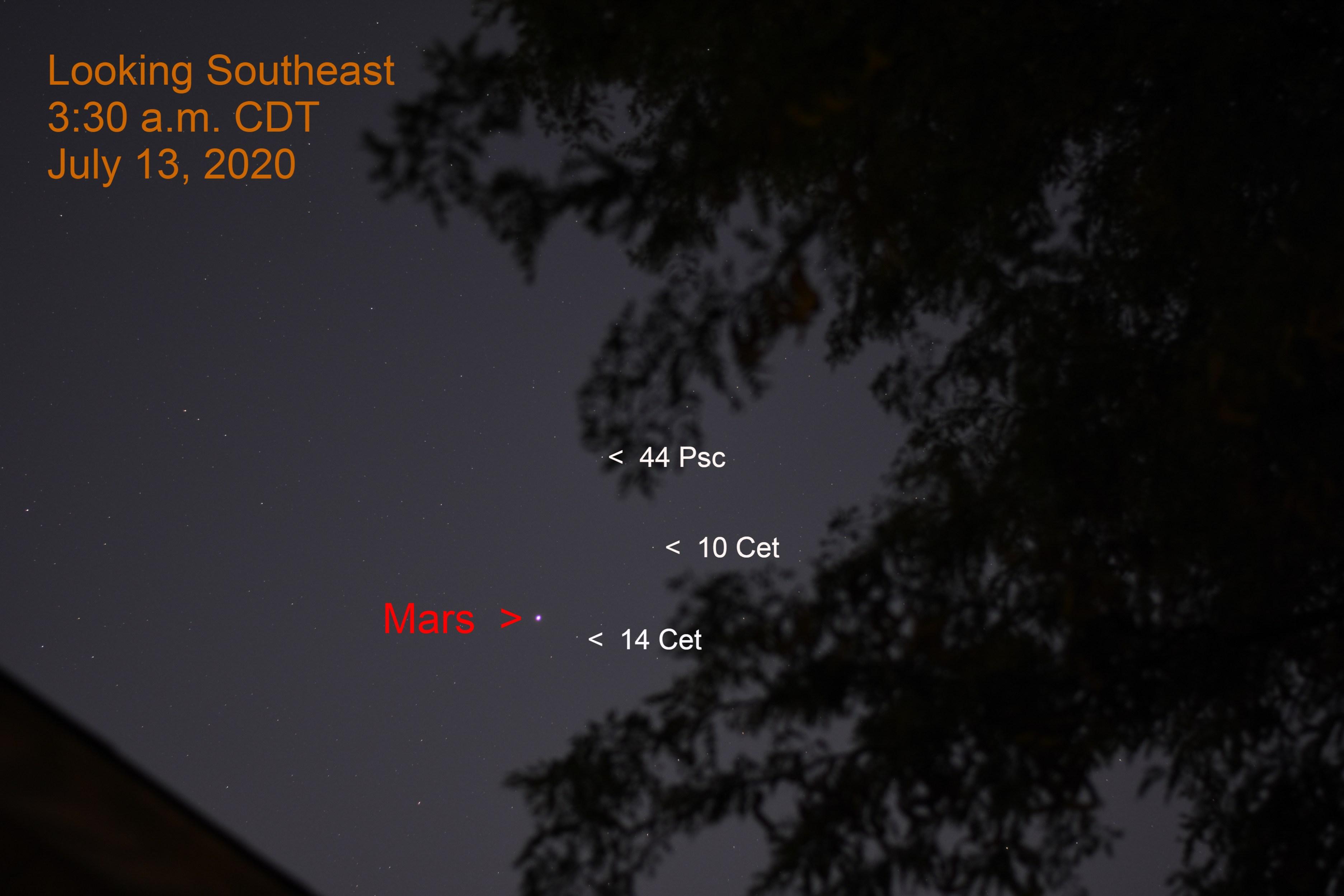 Mars in Cetus, July 13, 2020