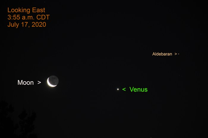Venus, the crescent moon, and Aldebaran, July 17, 2020.