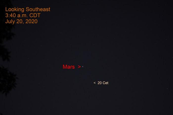 Mars in Cetus, July 20, 2020