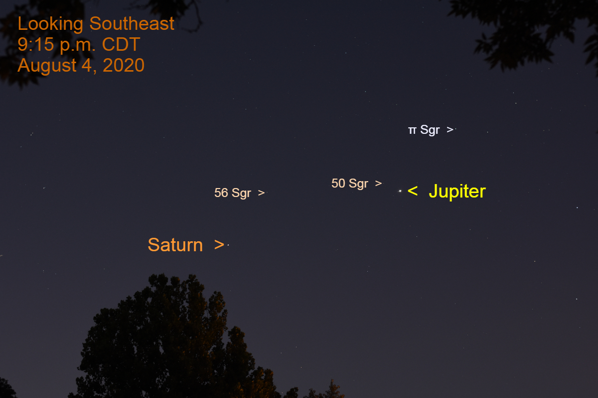 Jupiter and Saturn, August 4, 2020