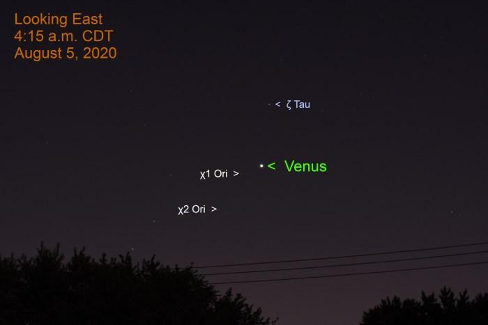 Venus in Orion, August 5, 2020