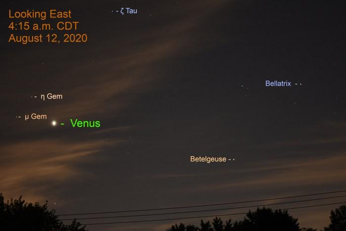 Venus in Orion, August 12, 2020