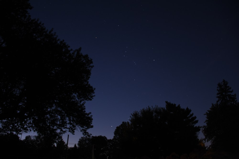 Sirius and Orion, August 30, 2020