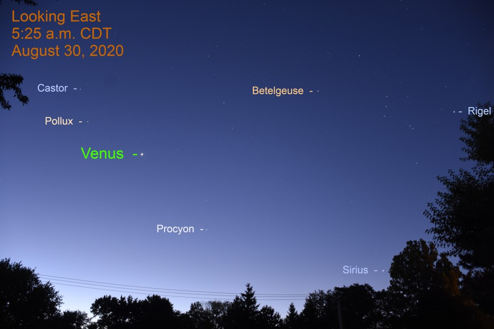 Venus and the stars during morning twilight, August 30, 2020