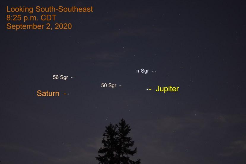 Jupiter and Saturn in Sagittarius, September 2, 2020
