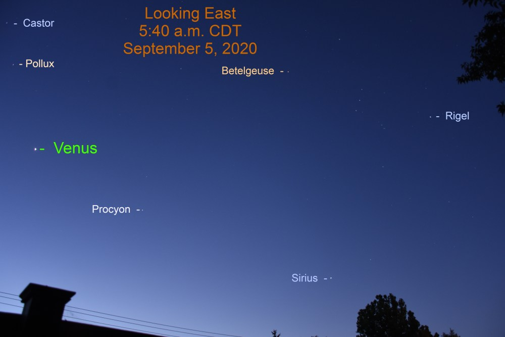 Venus and the stars during morning twilight, September 5, 2020
