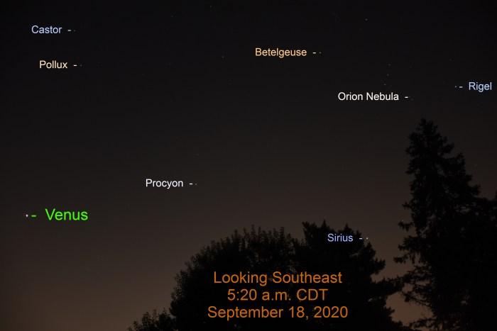 Venus with bright stars, September 18, 2020