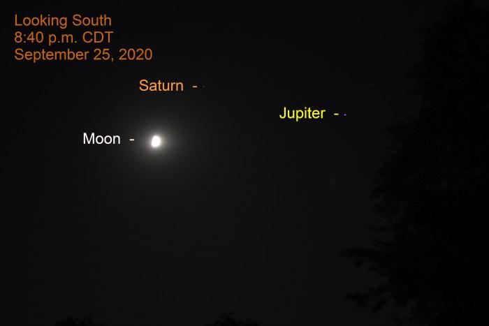 Jupiter, Saturn, Moon, September 25, 2020.
