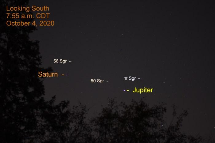 Jupiter and Saturn in Sagittarius, October 4, 2020.