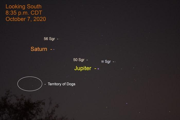 Jupiter and Saturn in Sagittarius, October 7, 2020