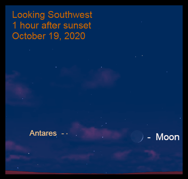 The crescent moon and Antares, October 19, 2020