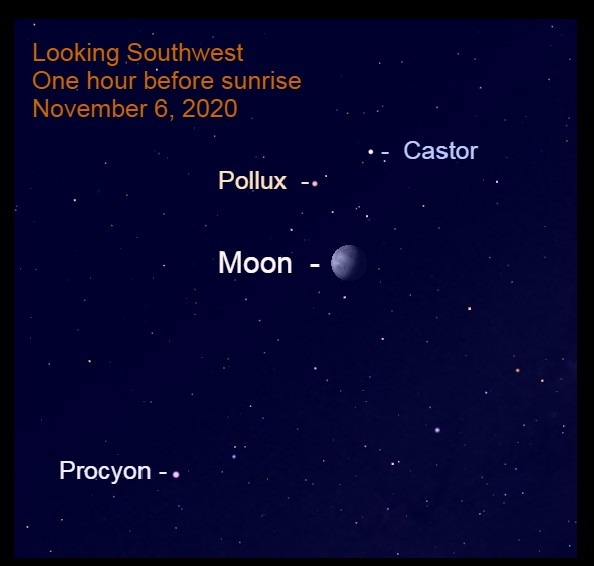 Moon and Pollux, November 6, 2020.