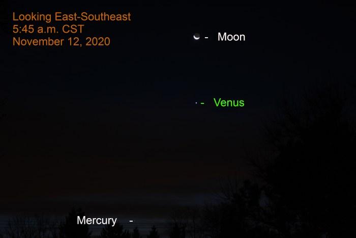 Venus, Mercury, and crescent moon, November 12, 2020