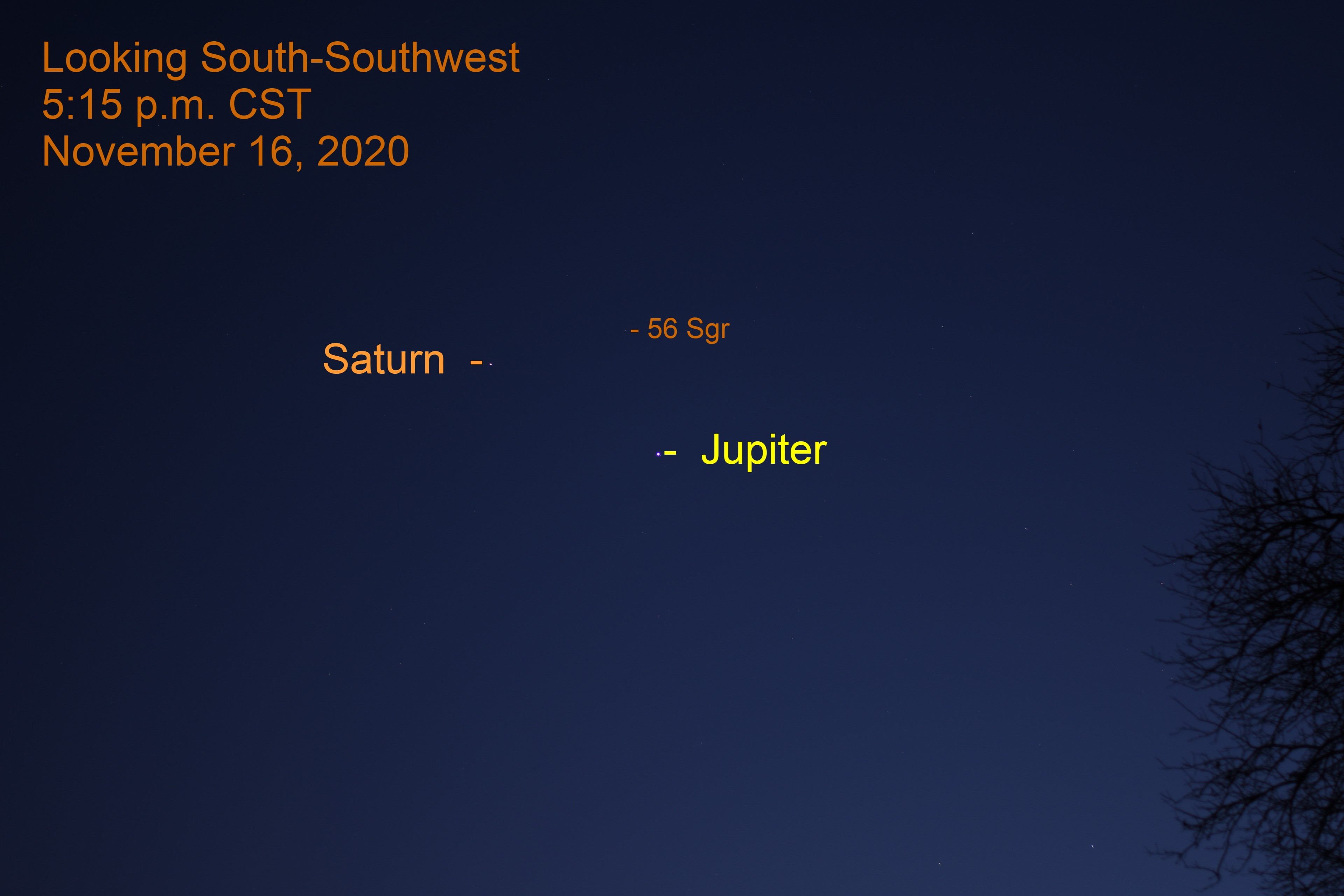 Jupiter and Saturn, November 16, 2020