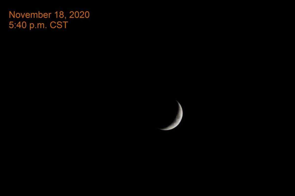 The crescent moon, November 18, 2020.