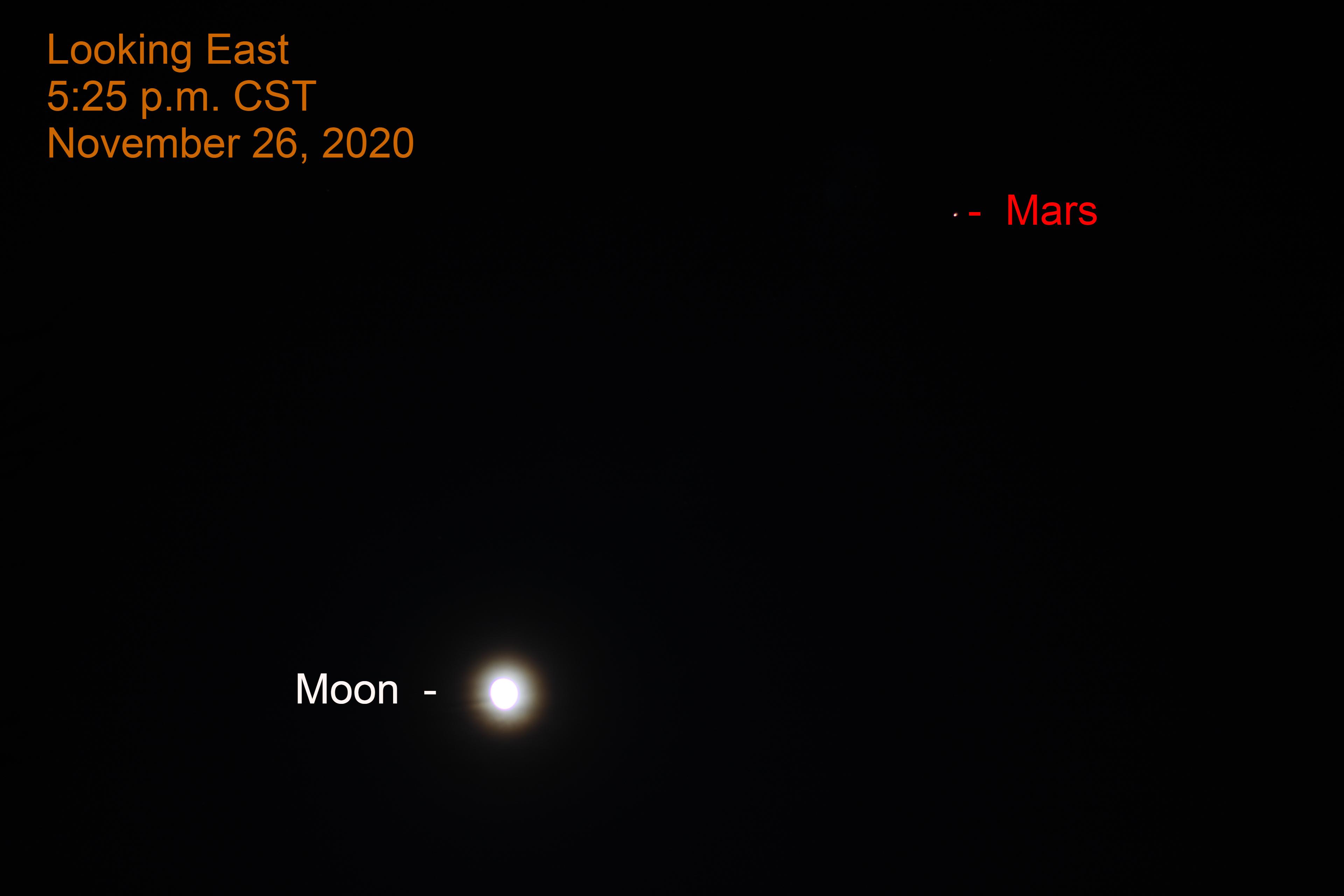 Mars and Moon, November 26, 2020