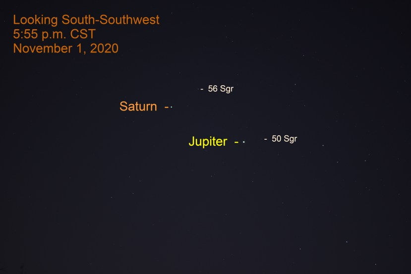 Jupiter and Saturn, November 1, 2020