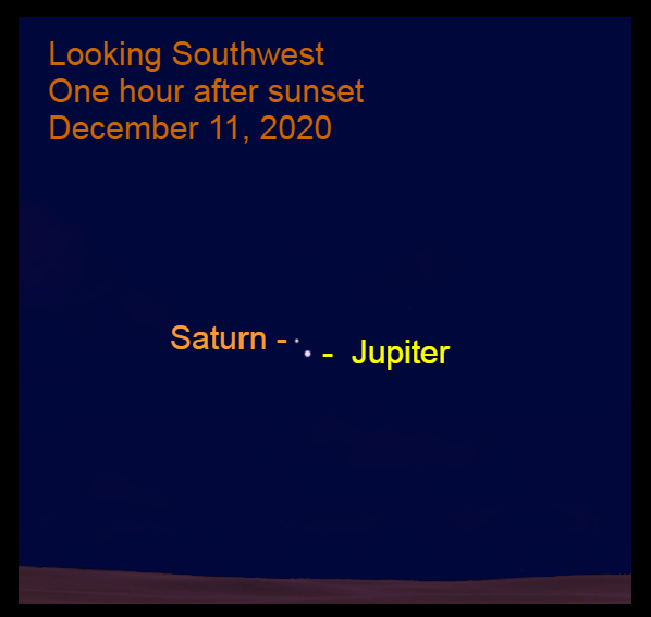 Jupiter and Saturn, December 11, 2020. Great Conjunction occurs December 21, 2020. Best planetary alignment since 1623.