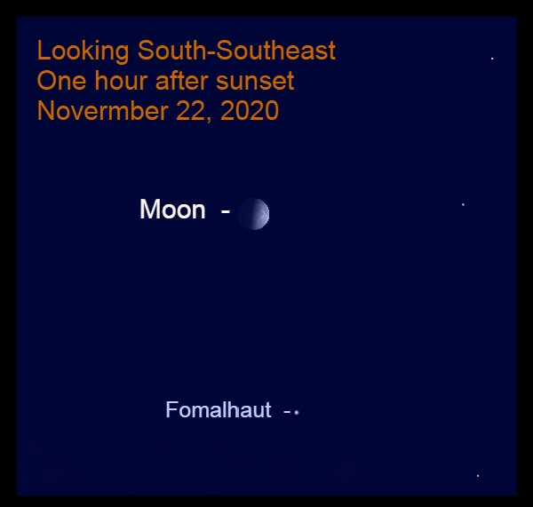 Moon and Fomalhaut, November 22, 2020
