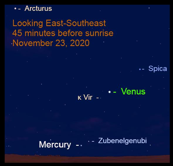 Venus and Mercury, November 23, 2020
