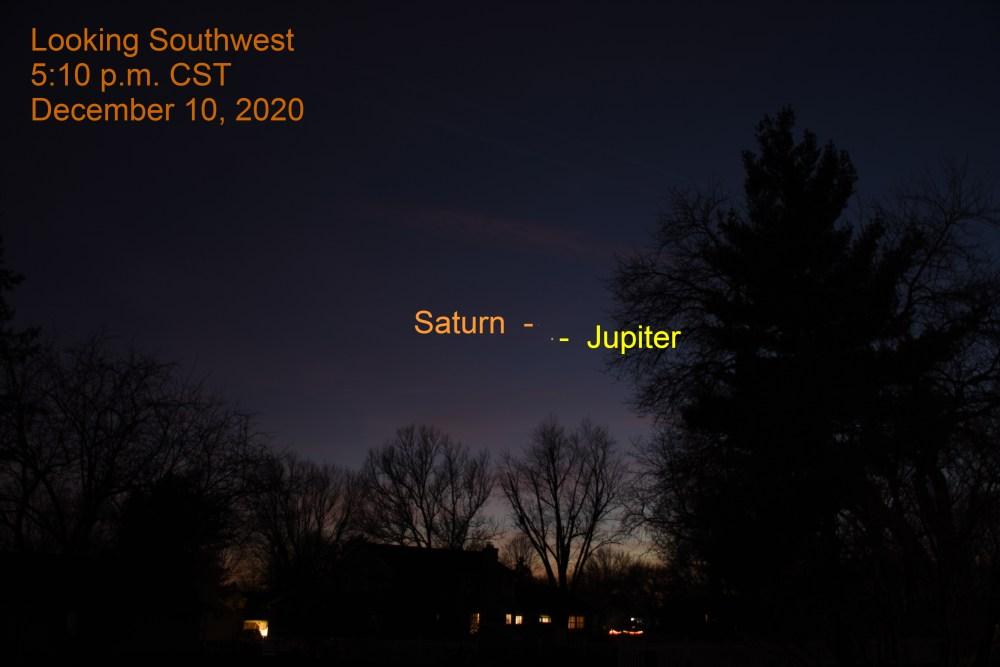 Jupiter and Saturn, December 10, 2020. Great Conjunction of Jupiter and Saturn. Planets align.