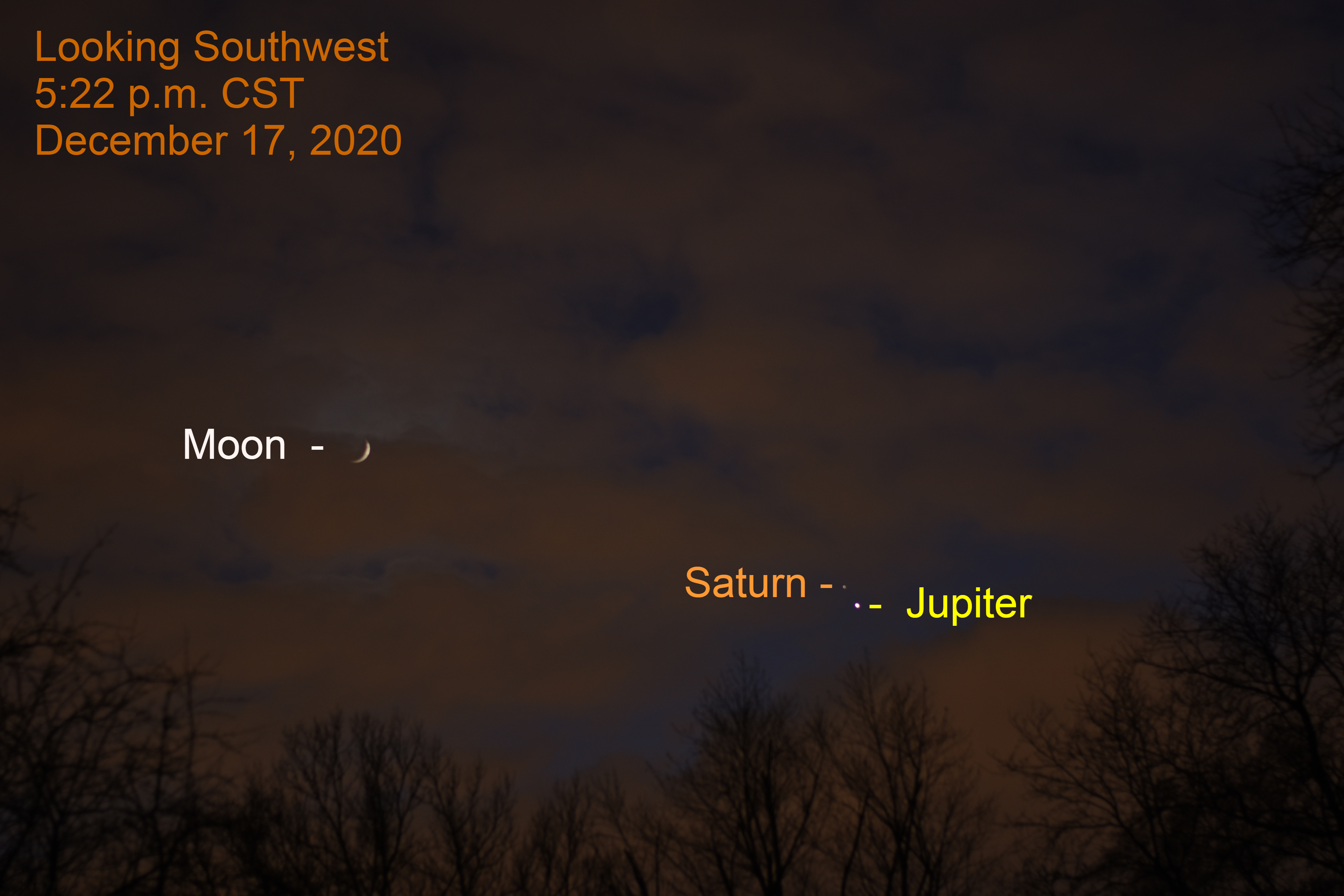 2020, December 17: Jupiter, Saturn, and the crescent moon.