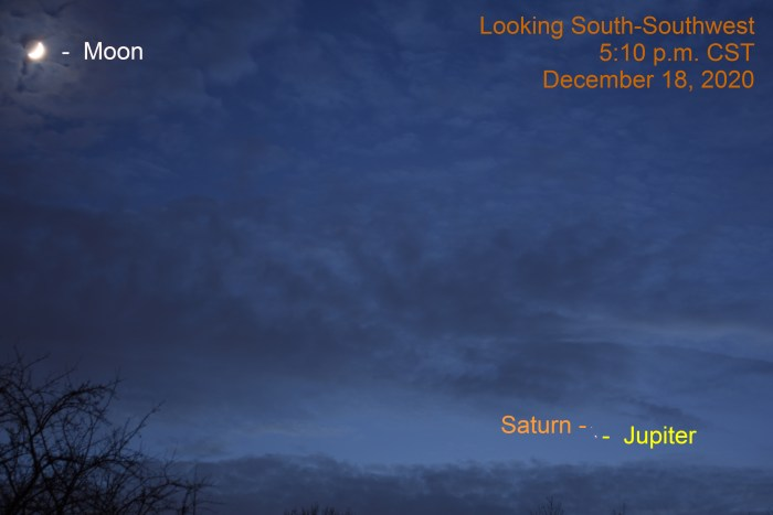 Jupiter and Saturn, December 18, 2020. The Great Conjunction. Planets align