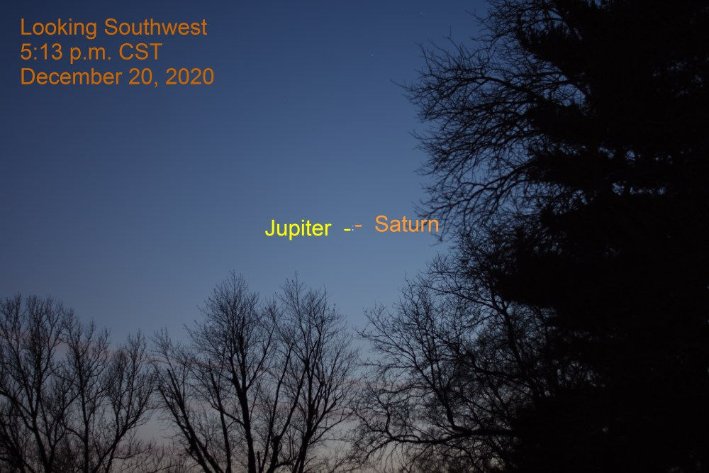 Jupiter and Saturn, December 20, 2020.