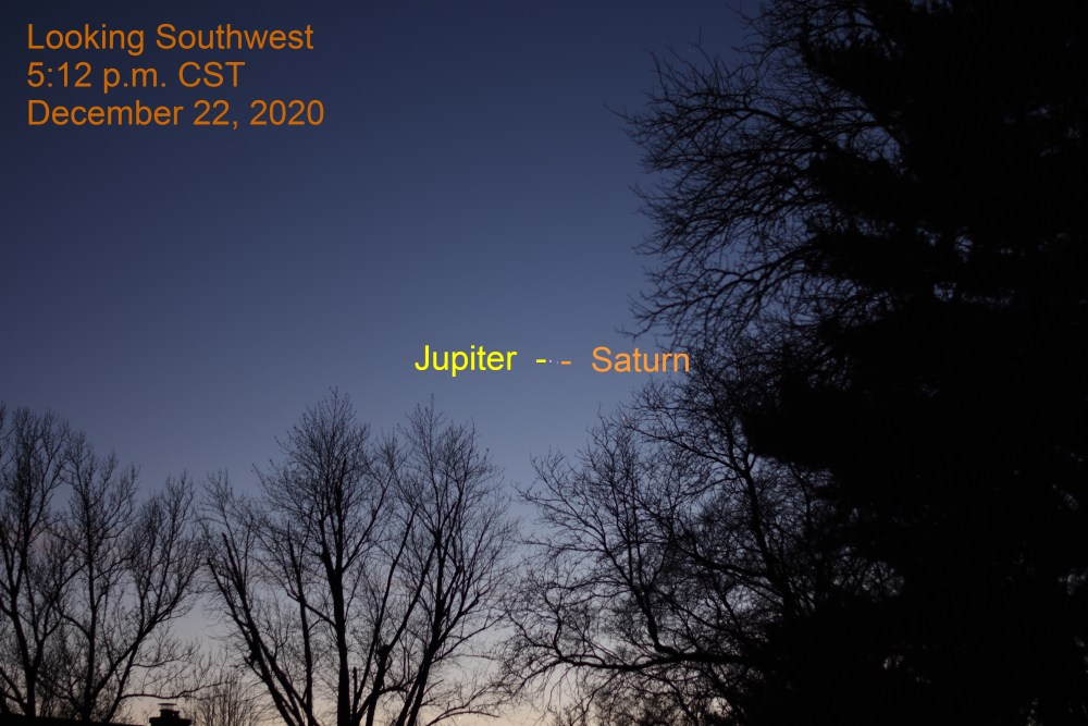 Jupiter and Saturn, December 22, 2020. Great Conjunction. Planets align.