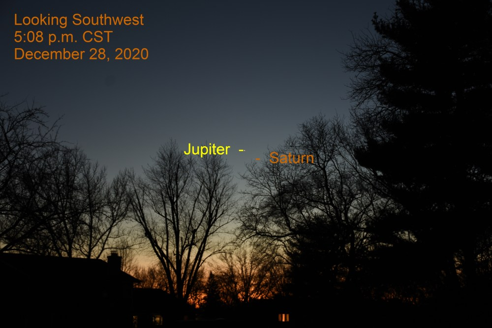 Jupiter and Saturn, December 28, 2020. Great Conjunction. Planets align.