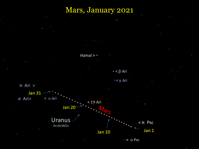Mars during January 2021