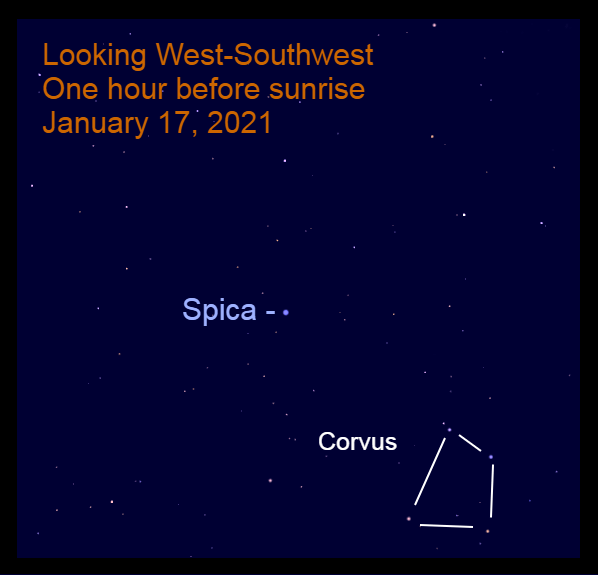 Spica, January 17, 2021, in the west-southwest before sunrise.