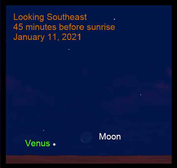 Venus and Moon, January 11, 2021