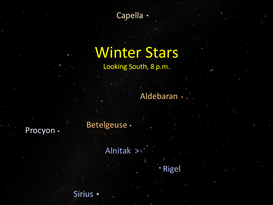 Winter's stellar sampler is in the south during the early evening hours of February.