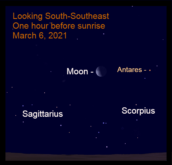 2021, March 6: An hour before sunrise, the thick crescent moon is to the left of the star Antares.