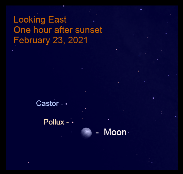 February 23, 2021: The gibbous moon is near Pollux.