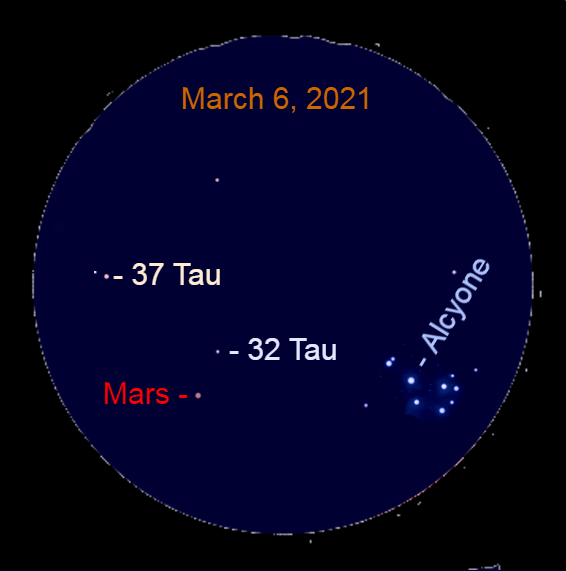 2021, March 6: Use a binocular to look for Mars near the Pleiades. It is trekking toward 37 Tauri (37 Tau).